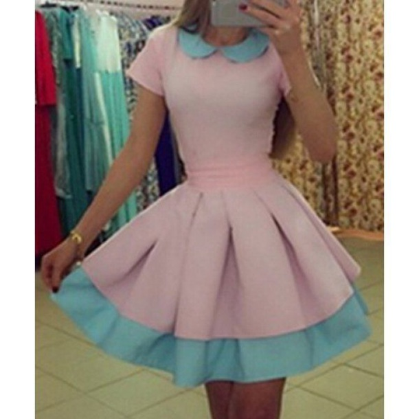 3b3762e2e2e5 dress pastel pink blue pink dress blue dress pastel dress cute kawaii