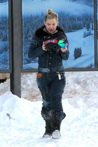 jumpsuit winter outfits winter jacket winter boots kate hudson