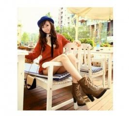 Beli Hot Sale Lace-up High Heel Hangat Short Boots Khaki dengan harga termurah | grosir-dress.net
