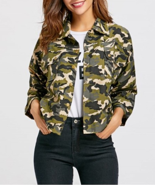 jacket girly button up camouflage camo jacket