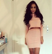 dress,blush,pink,two-piece,nude,turtleneck,skirt,long sleeves,light pink,blush pink,black,camel,matching set,turtle neck long sleeve,mini skirt,bodycon dress,bodycon,mock neck,beige,bodycon skirt,bodycon two piece,salmon,two piece body con,suede bodycon skirt,two piece dress set,shirt,make-up,no make-up look,bella hadid,model,brunette,selfie,beautiful
