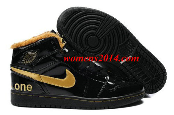 fur black shoes yellow air jordan 1 men nike air jordan i