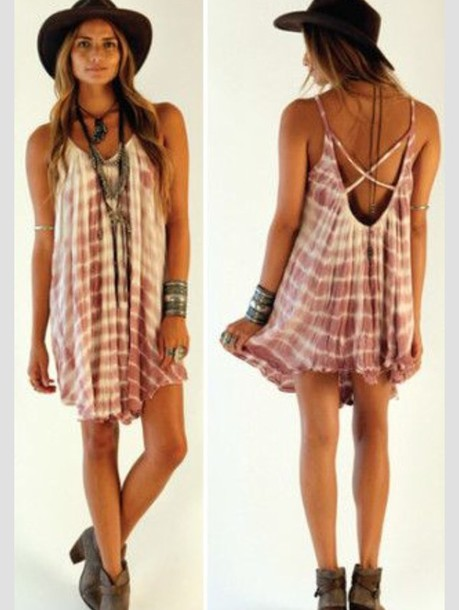 pink dress pink tie dye dress style fashion vintage boho hippie faded summer outfits hat
