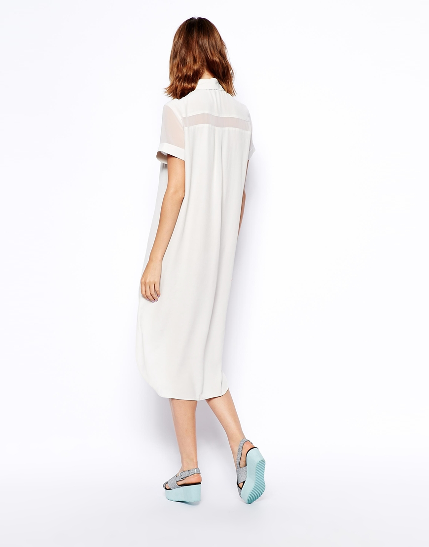 ASOS Shirt Dress With Sheer Panel at asos.com