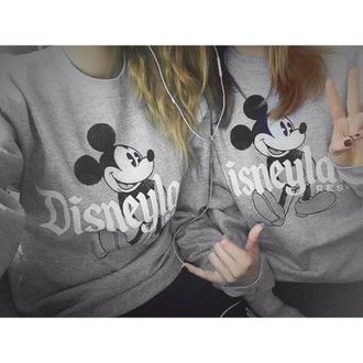 sweater grey disneyland sweater crew neck
