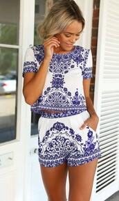 jumpsuit,romper,dress,set,top,crop tops,cropped,shirt,tees,blue,print,design,skirt,shorts,white,ummer,summer,summer dress,summer outfits,fall outfits,love,chanel,vogue,boho,bohemian,lace,flowers,floral