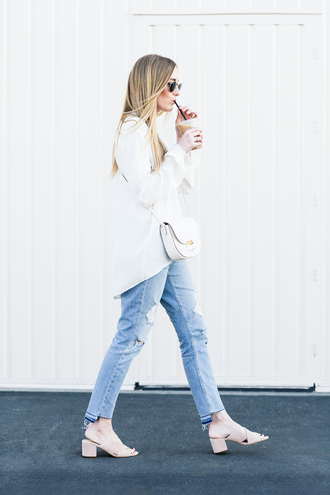 eat sleep wear blogger jacket jeans top bag shoes crossbody bag mules white bag white shirt spring outfits