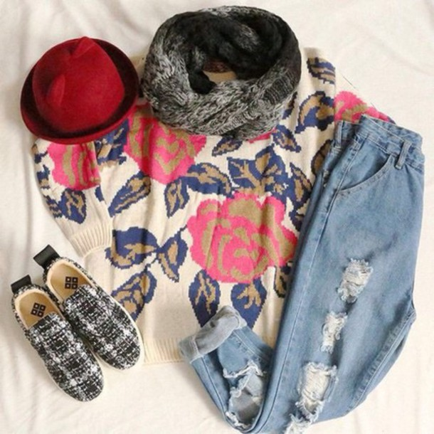 sweater jeans hat scarf shoes hipster roses ripped jeans