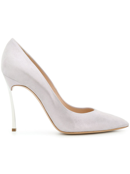 CASADEI women pumps leather suede grey shoes