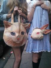 bag,catprint,cats,bunny,tumblr,cute,clutch,handbag,straps,chain,lovely,purse