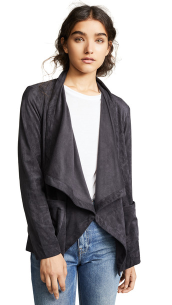 cupcakes and cashmere Buckingham Faux Suede Wrap Jacket in charcoal