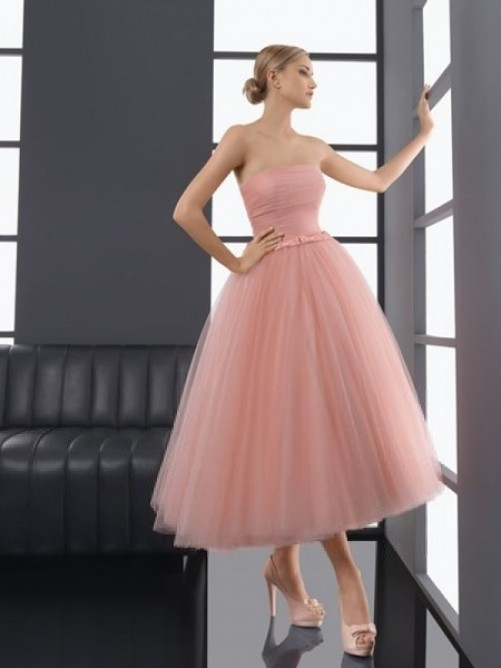 A-line Strapless Bowknot Sleeveless Tea-length Tulle Dress