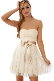 Champagne and white sleeveless lace prom dress