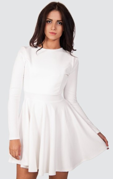 dress long sleeve dress white