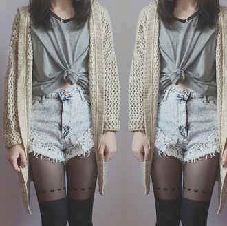 striped top stripy cut off shorts high waisted shorts acid wash tights fashion inspo cool girl style on point clothing styled