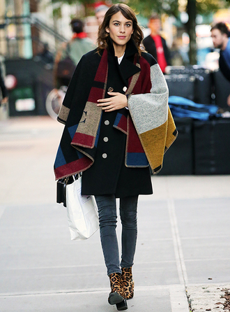 coat cape alexa chung fall outfits poncho