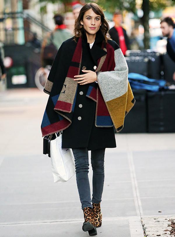 Coat Cape Alexa Chung Fall Outfits Poncho Wheretoget