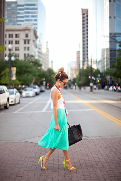 shoes skirt mint jewels hello fashion bag sunglasses