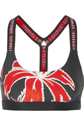 bra,sports bra,floral,print,black,underwear