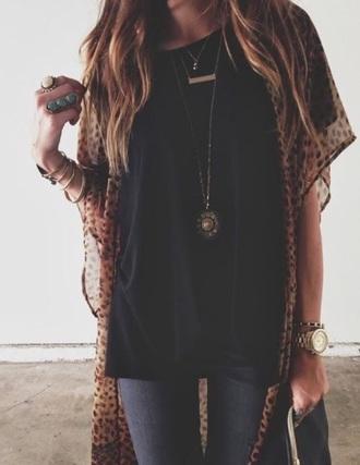 cardigan cheetah top black black top jewelry jewels