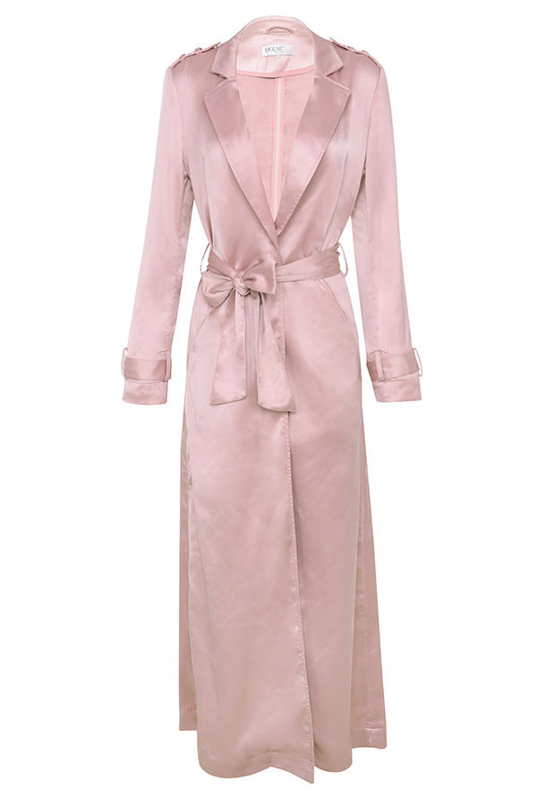Pale Pink Bedding Clothing : Jackets : 'Fabienne' Rose Gold Satin Duster Coat