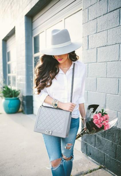 4a51ec577f8d bag grey bag chanel chanel bag chanel boy bag boy bag chanel boy shirt  white shirt