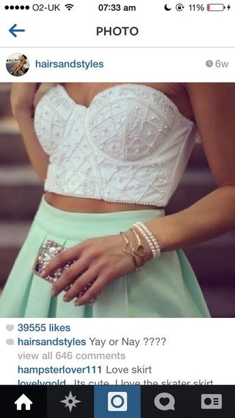blouse crop tops bustier white skirt