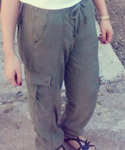 pants olive green pants. baggy.