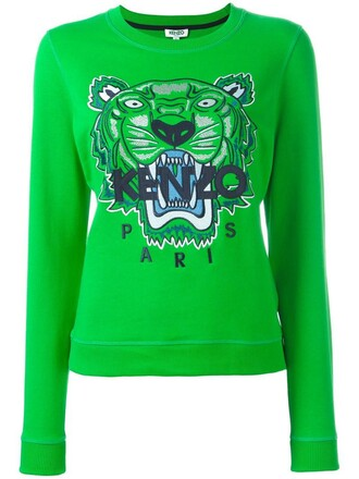 sweatshirt women tiger cotton green sweater