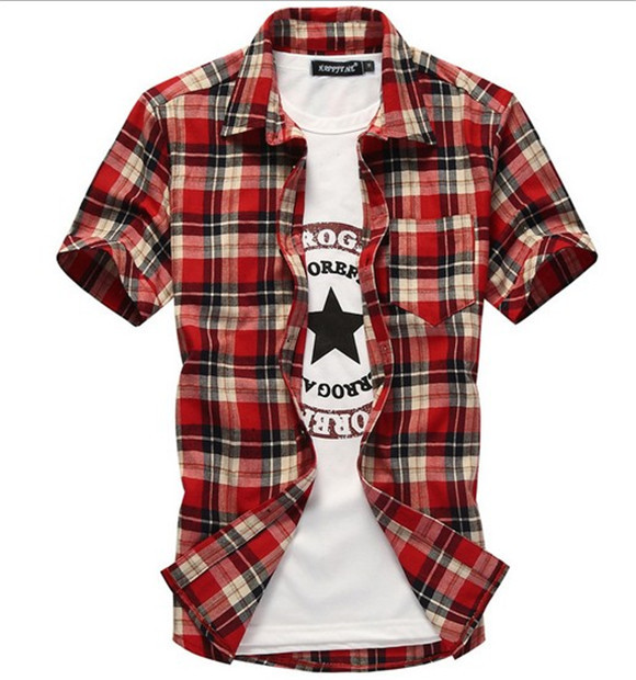 Free shipping 2014 summer Korean style Men's Slim Fit Stylish clothing plaid shirts short sleeve cotton grid Shirts-in Casual Shirts from Apparel & Accessories on Aliexpress.com