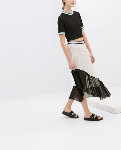 1f5a00895336 ASYMMETRIC TWO - TONE PLEATED SKIRT - Skirts - WOMAN