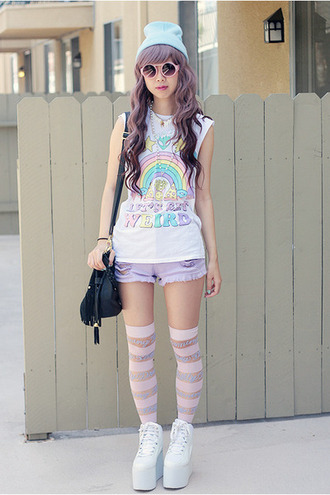 shoes pastel goth soft grunge pastel kawaii unicorn rainbow harajuku t-shirt