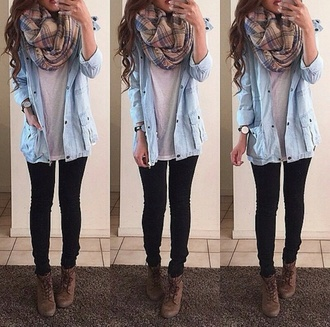 shirt button up shirt scarf white blouse black jeans booties