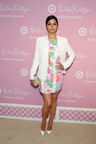 dress mini dress pumps camila alves blazer clutch shoes