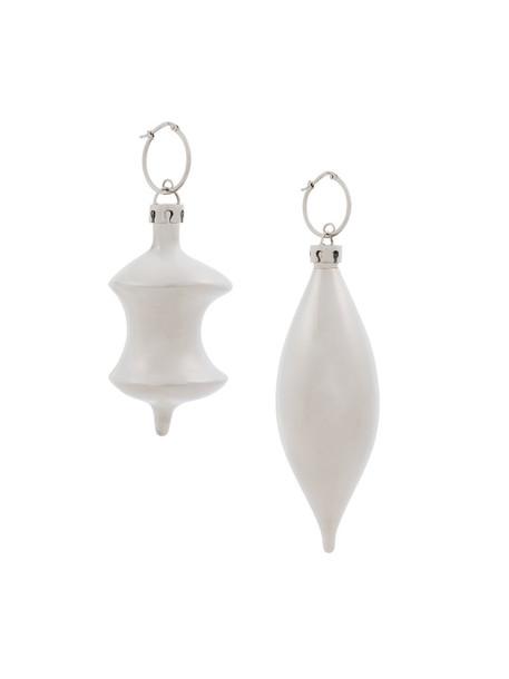 Balenciaga women earrings pendant grey metallic jewels