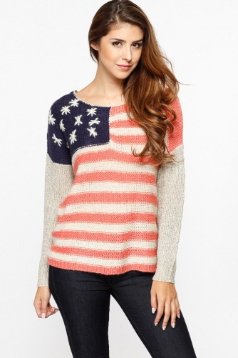 American Flag Knit Sweater @ Cicihot Clothing,sexy club wear,women's