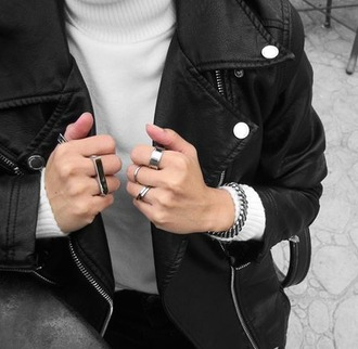 jewels tumblr ring silver ring turtleneck jacket black leather jacket leather jacket black jacket grey sweater