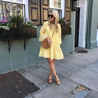 twopeasinablog blogger dress shoes bag sunglasses jewels round bag sandals gingham dresses yellow dress spring outfits