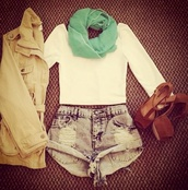 shorts,shirt,scarf,heels,brown,trench coat,jacket,shoes,top,adorable cute pretty mint green scarf cream colored top white cropped tight full loose green brown b,boots,mint green cream colored color white cropped tight crop full loose cute adorable pretty shorts denim
