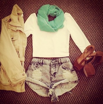 shorts shirt scarf heels brown trench coat jacket shoes top adorable cute pretty mint green scarf cream colored top white cropped tight full loose green brown b boots mint green cream colored color white cropped tight crop full loose cute adorable pretty shorts denim