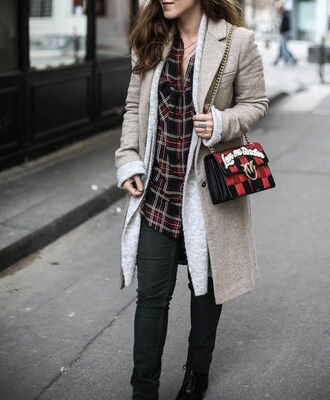 elodie in paris blogger coat sweater shirt pants shoes bag jewels fall outfits plaid shirt grey coat ankle boots shoulder bag