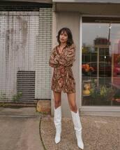 skirt,mini skirt,printed skirt,texture,shirt,printed shirt,long sleeves,white boots,knee high boots,earrings