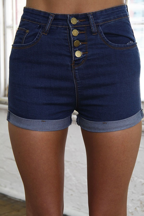 Blue Denim Button Fly Short Shorts