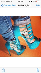 shoes,turquoise high heels