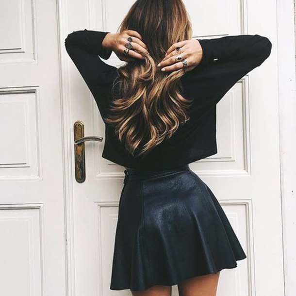 skirt leather skirt faux leather skirt leather mini skirt mini skirt faux leather cute outfits girly outfit crop tops top jewels