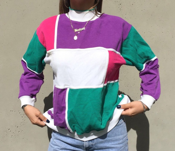sweater purple colorblock pink white top green stripes