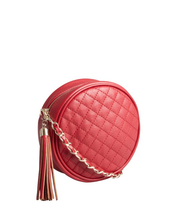 Wyatt red quilted faux leather circular crossbody bag | BLUEFLY up to 70% off designer brands