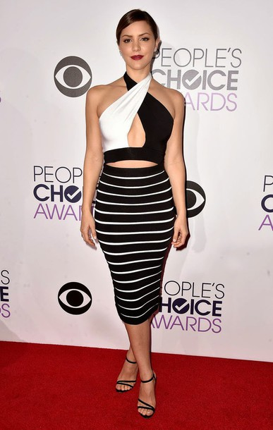 katharine mcphee black and white dress stripes