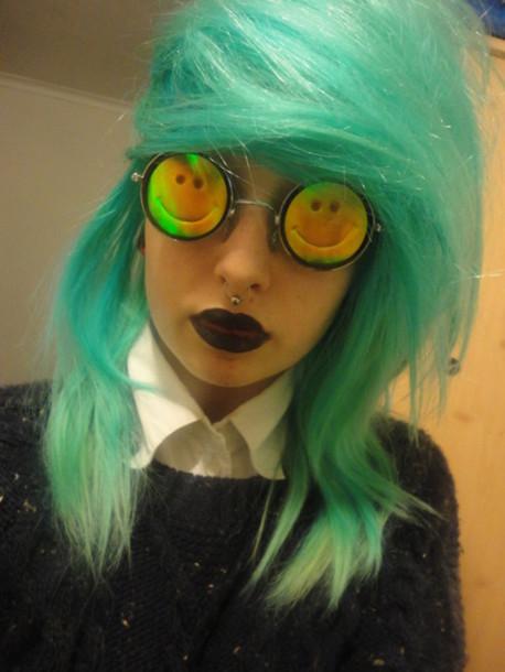 sunglasses glasses greenhair black lipstick