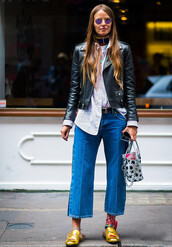 jacket,tumblr,culottes,denim culottes,cropped jeans,belt,shirt,stripes,striped shirt,gucci,gucci shoes,gucci princetown,metallic,metallic shoes,gold shoes,black jacket,black leather jacket,leather jacket,sunglasses,scarf,streetstyle,fashion week 2017